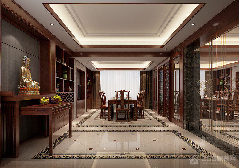 中式别墅餐厅佛像供奉台图片