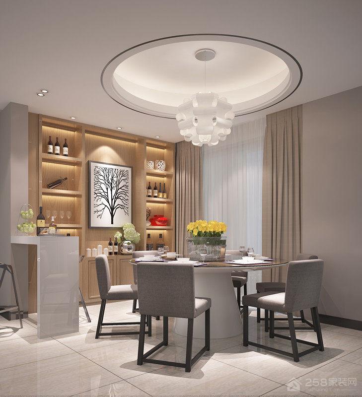 简约设计餐厅六人圆餐桌图片