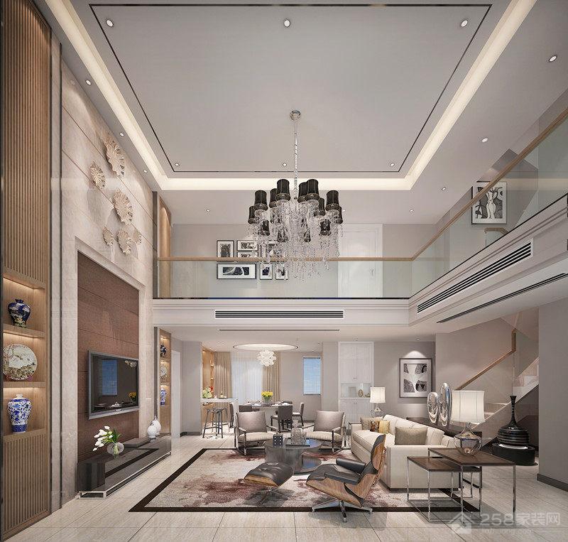 现代风格复式楼挑高客厅装修图