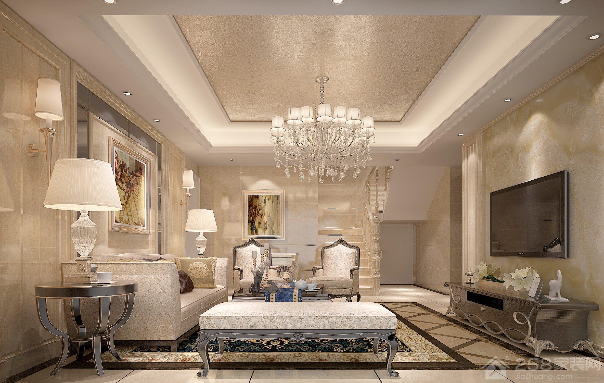 欧式风格客厅水晶吊顶图片