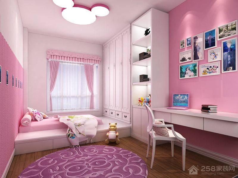 简约风格粉色儿童房设计效果图