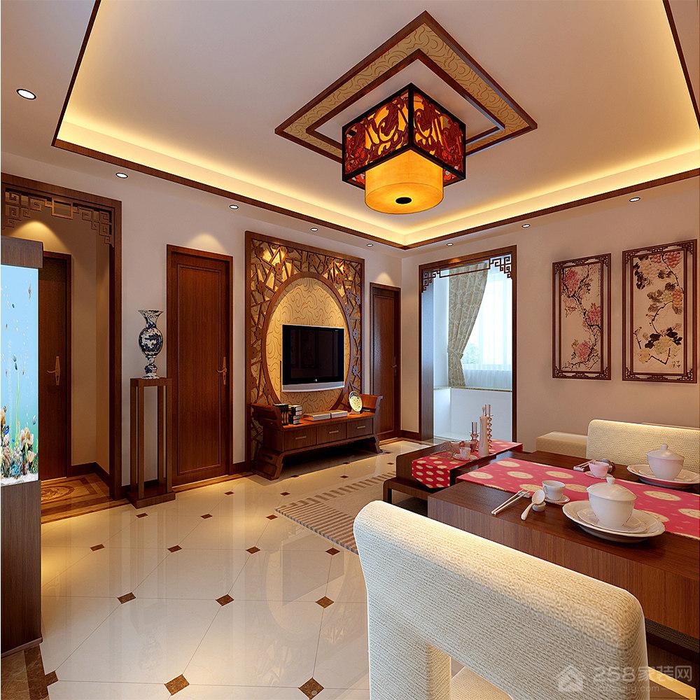 中式风格拱形电视背景墙图片