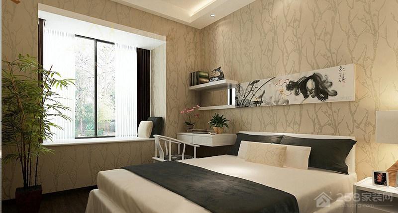 现代简约风格卧室墙纸贴图