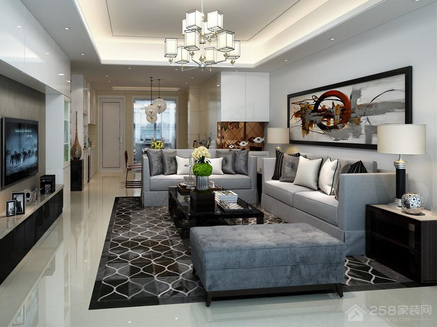 现代风格客厅沙发背景墙挂画图片