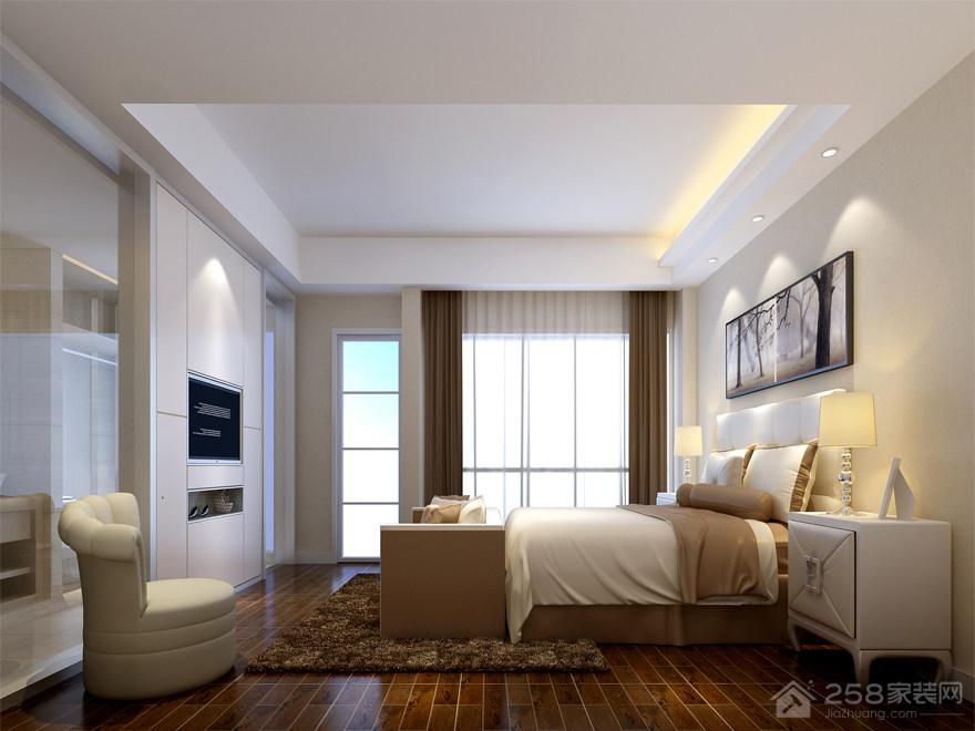 简约风格卧室纯白色平顶吊顶图片