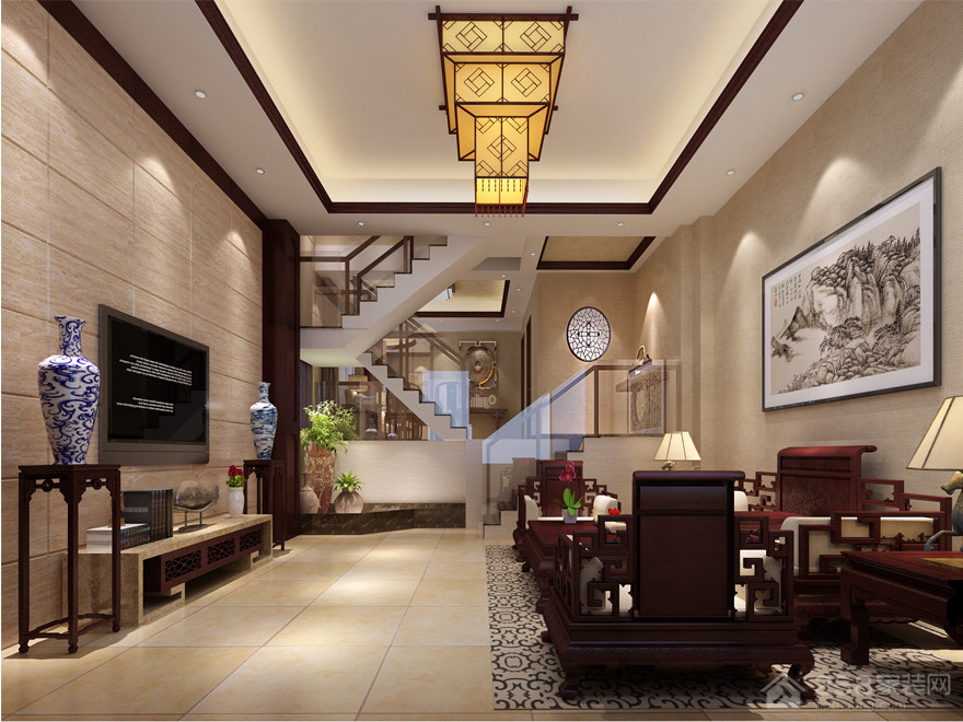 大户型客厅中式吊灯图片