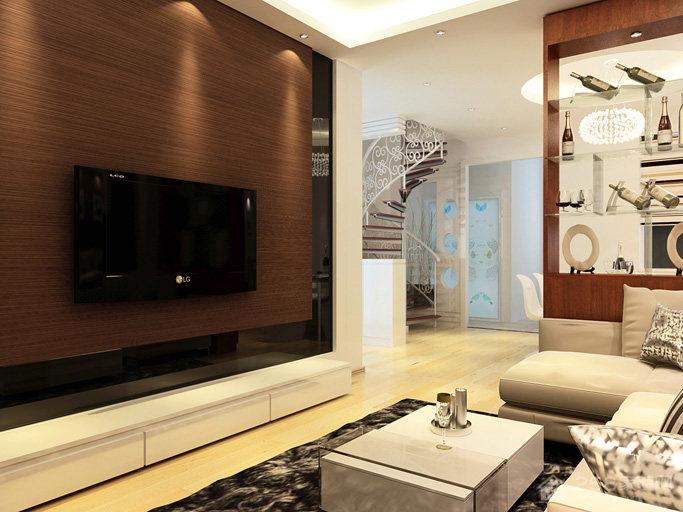 简约风格客厅实木电视背景墙图片