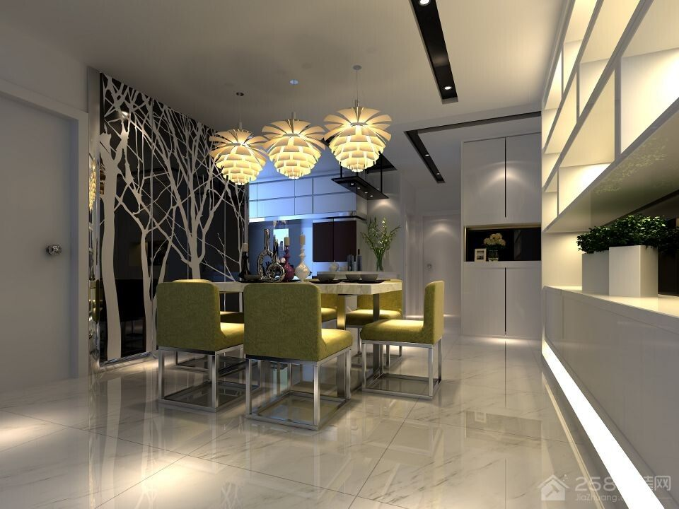 现代风格餐厅大理石地砖效果图