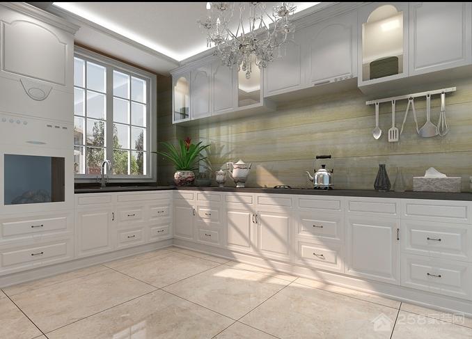 欧式风格厨房L形橱柜设计图片