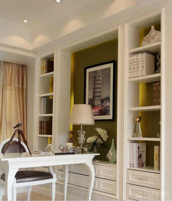 书房白色古典实木书柜效果图