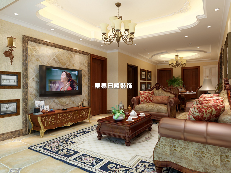 华鼎新城138平美式风格设计装修效果图
