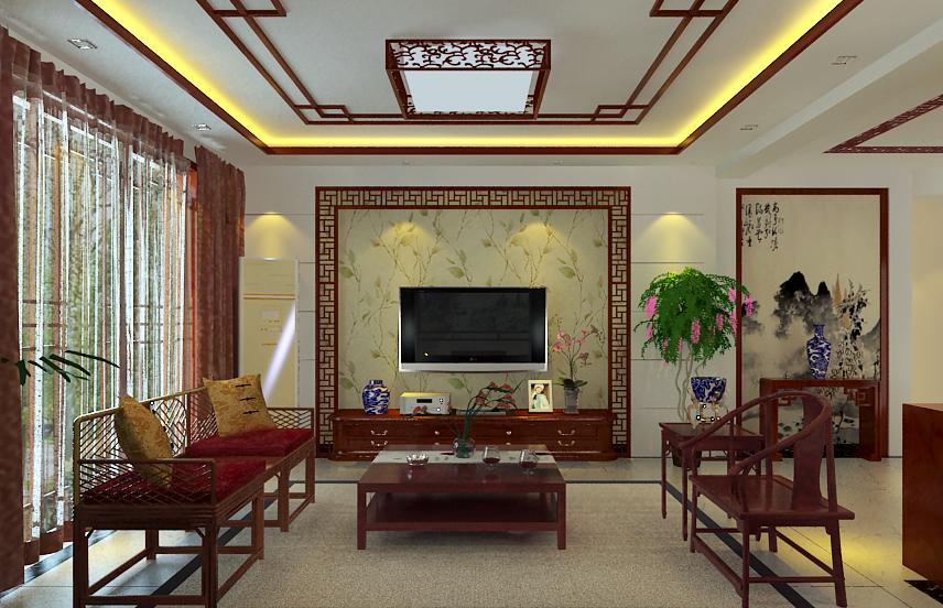 久隆奥斯卡二居室新中式风格效果图