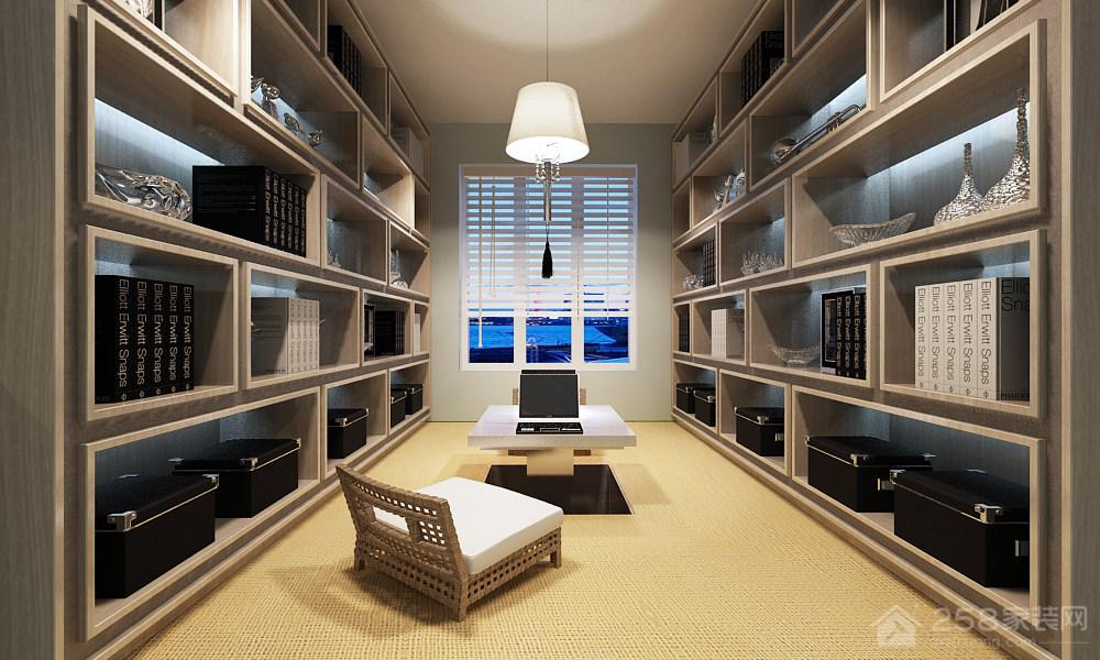 蓝色地中海风格书房升降茶几设计效果图