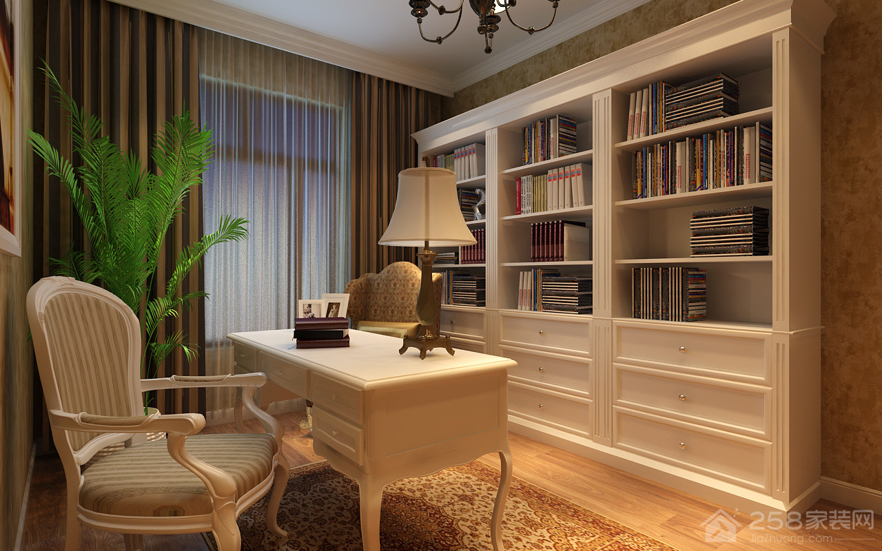 美式书房白色实木整体书柜图片展示
