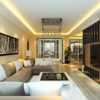 现代两室一厅客厅转角沙发效果图