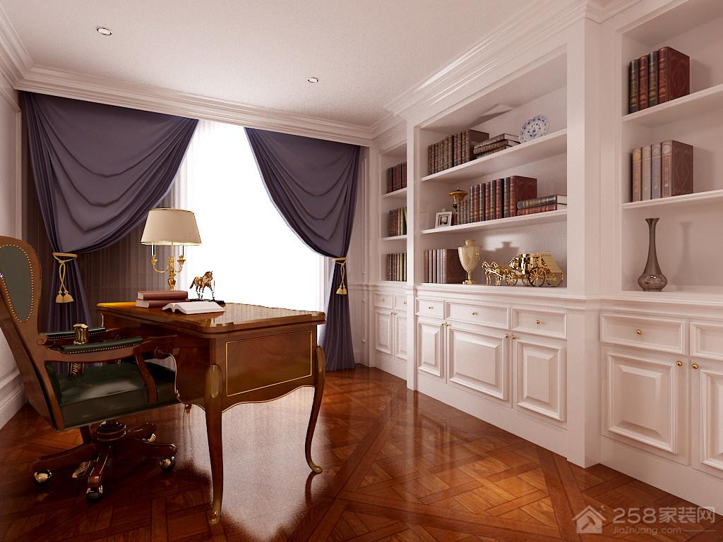 大气欧式书房整体书柜效果图欣赏