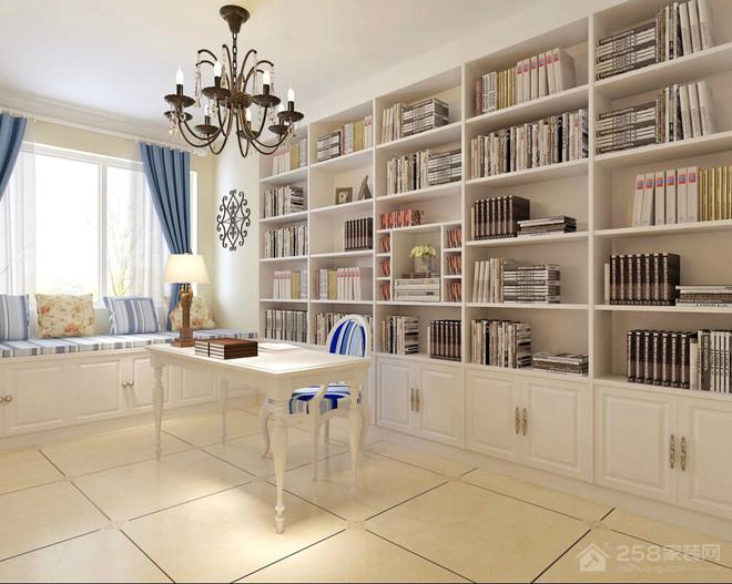 两居室田园风书房整体书柜效果图欣赏
