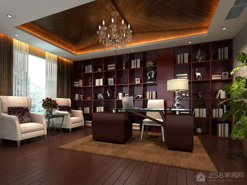 三居室简约书房整体书柜设计图
